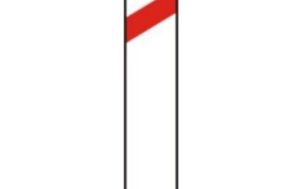 Señal vertical de peligro por cercanía de un paso a nivel, puente móvil o muelle al lado derecho