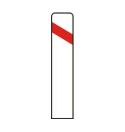 Señal vertical de advertencia de peligro por cercanía de un paso a nivel, puente móvil o muelle al lado izquierdo