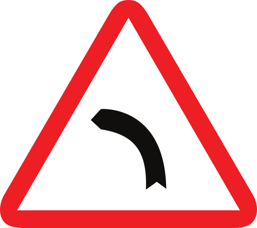 Señal vertical de advertencia de peligro por la proximidad de una curva peligrosa hacia la izquierda