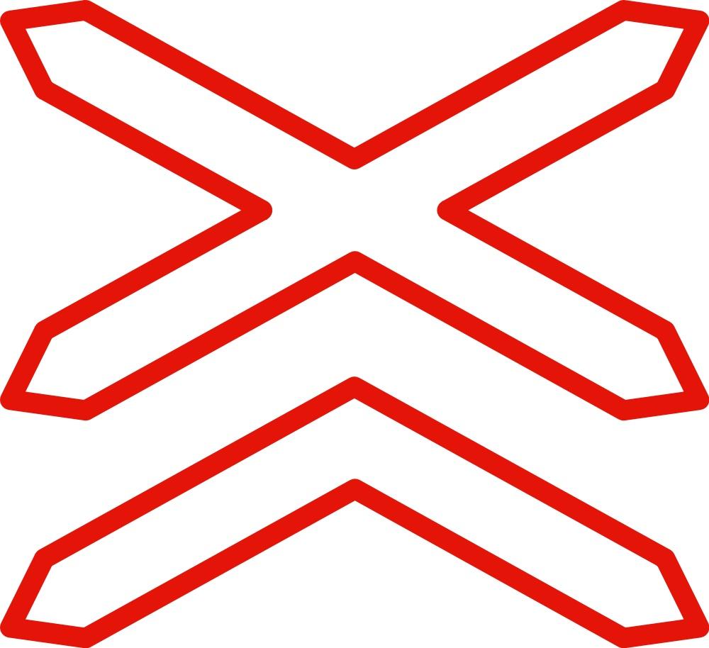 Señal vertical de advertencia de peligro por la situación de un paso a nivel sin barreras de más de una vía férrea