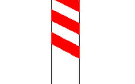 Señal vertical de advertencia de peligro por la proximidad de un paso a nivel, puente móvil o muelle al lado izquierdo