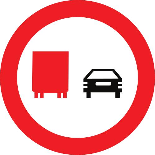 Señal vertical reglamentaria de adelantamiento prohibido para camiones
