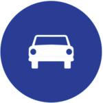 Señal vertical reglamentaria de obligación de calzada para automóviles, excepto motocicletas sin sidecar