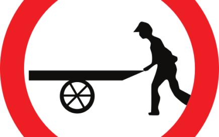 Señal vertical reglamentaria de entrada prohibida a carros de mano
