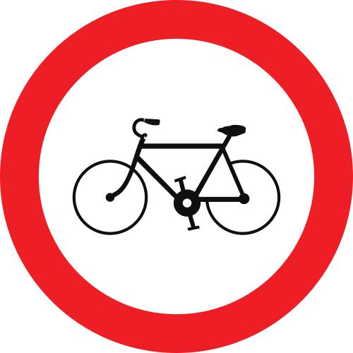 Señal vertical reglamentaria de entrada prohibida a ciclos