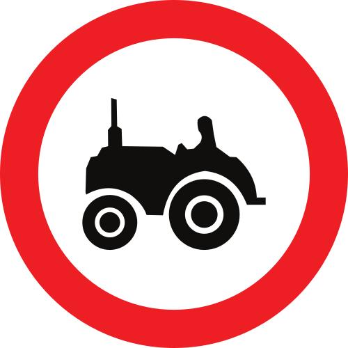 Señal vertical reglamentaria de entrada prohibida a vehículos agrícolas de motor