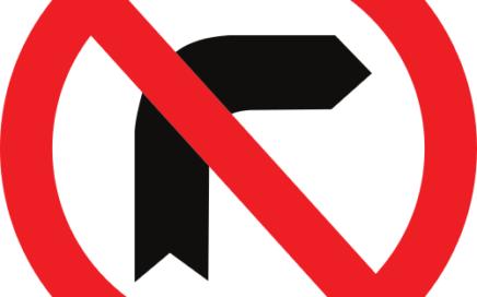 Señal vertical reglamentaria de giro a la derecha prohibido