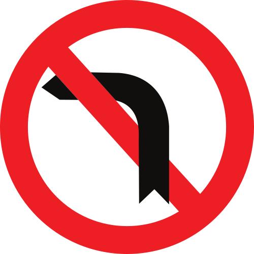 Señal vertical reglamentaria de giro prohibido a la izquierda