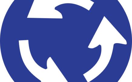 Señal vertical reglamentaria con intersección de sentido giratorio obligatorio