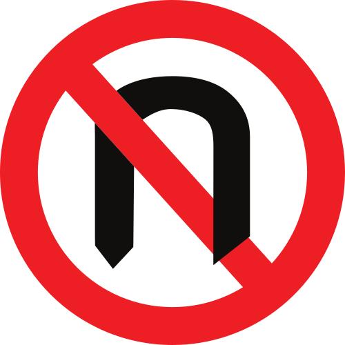 Señal vertical reglamentaria de media vuelta prohibida