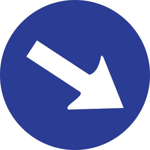 Señal vertical reglamentaria paso obligatorio por la derecha