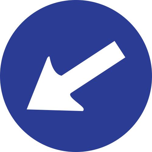 Señal vertical reglamentaria de paso obligatorio por la izquierda