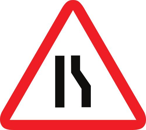 Señal de advertencia de peligro por la proximidad de un estrechamiento de la calzada por la derecha