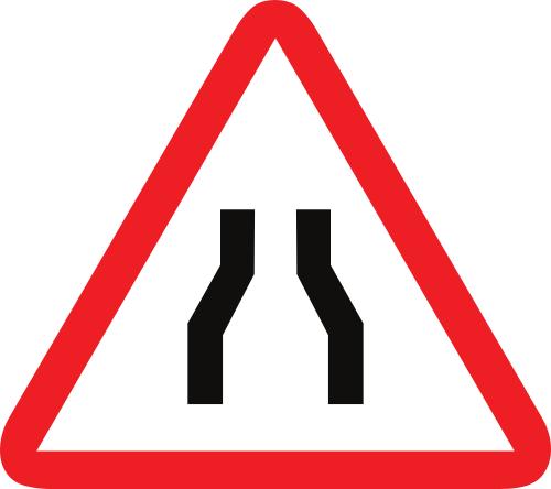 Señal vertical de advertencia de peligro por la proximidad de un estrechamiento de la calzada