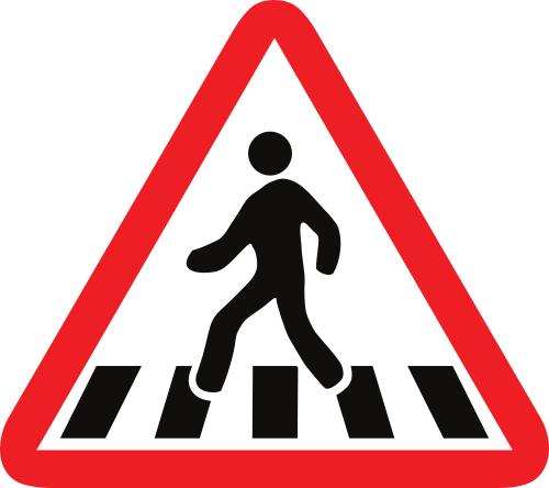 Señal vertical de advertencia de peligro por la proximidad de peatones