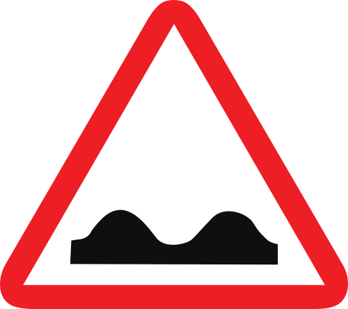 Señal vertical de advertencia de peligro por la proximidad de un perfil irregular