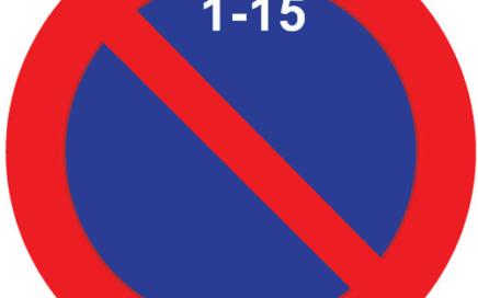 Señal vertical reglamentaria de estacionamiento prohibido la primera quincena