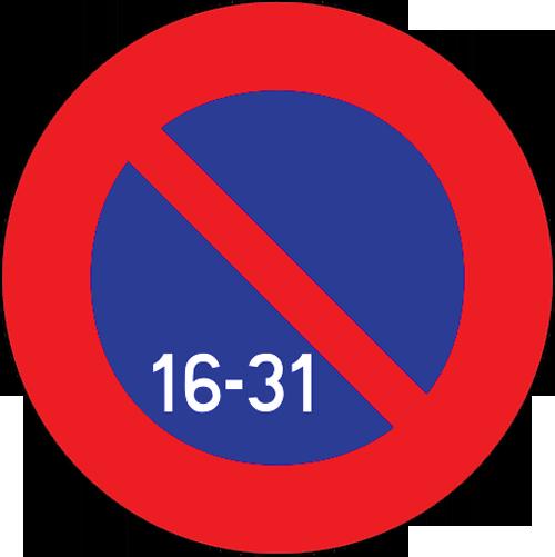 Señal vertical reglamentaria estacionamiento prohibido la segunda quincena