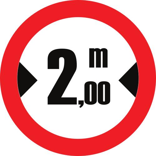 Señal vertical reglamentaria de restricción de paso por limitación de anchura