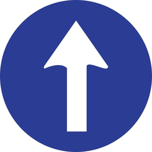 Señal vertical reglamentaria de sentido obligatorio de frente