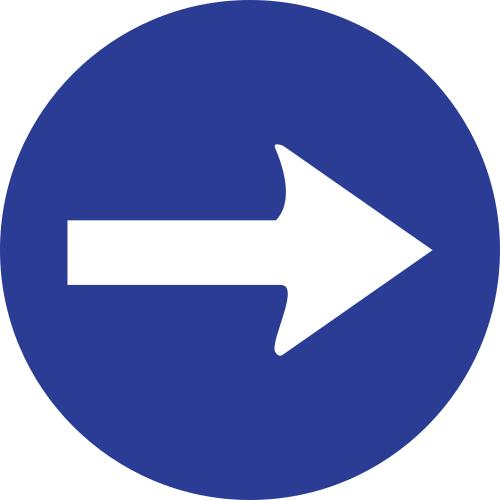 Señal vertical reglamentaria de sentido obligatoria a la derecha