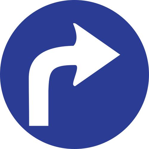 Señal vertical reglamentaria de sentido obligatorio hacia la derecha