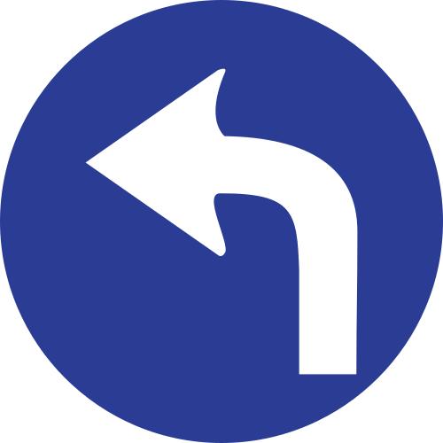 Señal vertical reglamentaria de sentido obligatorio hacia la izquierda