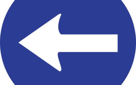 Señal vertical reglamentaria de sentido obligatorio a la izquierda