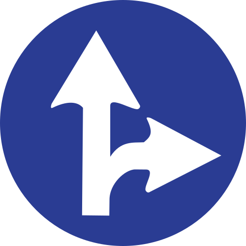 Señal vertical reglamentaria de únicas direcciones y sentidos permitidos de frente y hacia la derecha