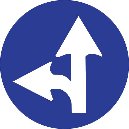 Señal vertical reglamentaria de únicas direcciones y sentidos permitidos de frente y hacia la izquierda