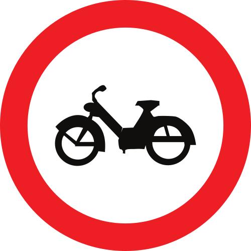 Señal vertical reglamentaria de entrada prohibida a ciclomotores