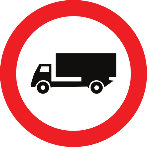 Señal vertical reglamentaria de entrada prohibida a vehículos destinados al transporte de mercancías